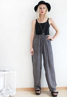 Vintage Summer Festival Abstract Geometric Loose Trousers  #style #fashion #vintage #trousers #clothing #vintageclothes