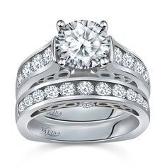 Diamond Engagement Ring with Diamonds and more Diamonds. #Valina #Ring