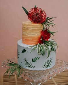 """130 Likes, 21 Comments - {orange trunk} Vintage Rentals (@orangetrunk) on Instagram: """"Tropical islands and cake...yes!  @modernbakeyyc created this beautiful two tiered tropical cake…"""""""