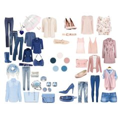 """""""Jeans for Alina. Pink, beige & blue."""" by harmoniq on Polyvore"""