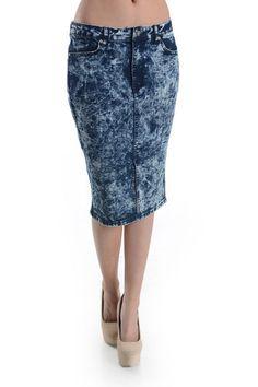 Gorgeous Denim Acid Wash Below-Knee Skirt w/Sexy Front Slit! Plus Size! #UASpringSummerCollection2015 #StraightPencil