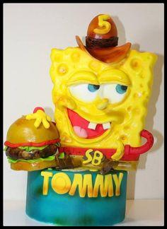 Spongebob in versione cawboy ! Gravity Defying Cake, Sponge Bob, Bird Food, Novelty Cakes, Angry Birds, Sweet Life, Yummy Cakes, Cartoon Characters, Fondant