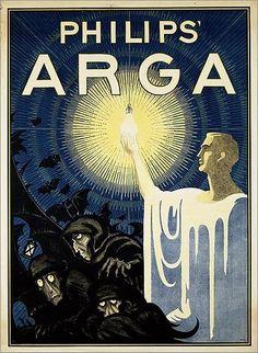 Philips Arga Lampen By Albert Hahn 1917 Retro Advertising, Retro Ads, Vintage Advertisements, Vintage Ads, Vintage Posters, Retro Poster, Poster Ads, Vintage Branding, Art Graphique