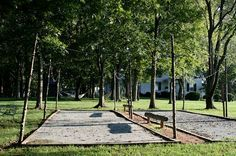 Pentaque courts at the Inn at Bingham School. The historic Inn at Bingham School in Mebane, North Carolina is nestled on ten acres of rolling farmland with 2.5 miles of walking trails surrounded by 180 acres of nature preserve.