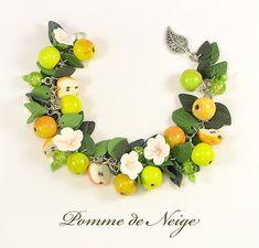 Apple Bracelet Polymer clay jewelry Handmade Polymer clay bracelet Gift Fruit bracelet