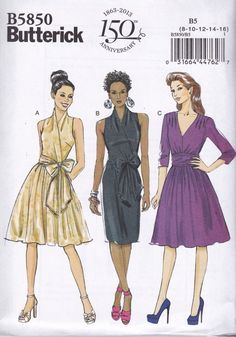 2012 Misses Mock Wrap Fitted Bodice Dress with Gathered Skirt and Waist Bow Tie UC FF Size - Butterick Sewing Pattern 5850 Evening Dress Patterns, Dress Making Patterns, Easy Sewing Patterns, Vintage Patterns, Vintage Sewing, Sewing Ideas, Vogue Patterns, Vintage Clothing, Vintage Dresses