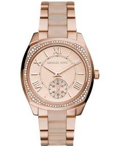Michael Kors Women's Bryn Blush Acetate and Rose Gold-Tone Stainless Steel Bracelet Watch 40mm MK6135 | macys.com