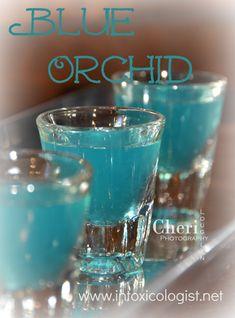 Blue Orchid: Cherry Vodka, Raspberry Liqueur, Blue Curacao