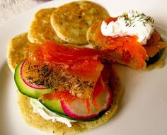 Savory Sourdough Blini with Lox (and maybe salmon roe, cream cheese and a little dill if I can find it)