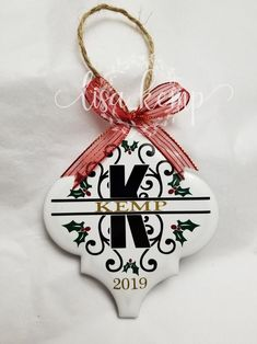 Christmas Holly and Berries Name Ceramic Lantern Tile Ornament Vinyl Christmas Ornaments, Farmhouse Christmas Ornaments, Christmas Trees, Custom Ornaments, Christmas Ornaments To Make, Christmas Diy, Christmas Decorations, Christmas Gifts For Girls, Homemade Christmas Gifts