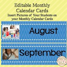 Editable Monthly Calendar CardsAdd variety to your calendar this year, by adding beautiful pictures of your students and their various activities.  This product will allow you to add the personal photographs of your choice to your monthly calendar cards.  *****************************************************************************You May Also LikeInsert Your Own Pictures On Daily Calendar Cards.Family Tree Lesson and Activities for Primary Grades.Second Grade Cross Curricular Calendar of…