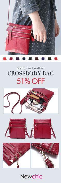 US$19.92 Women Genuine Leather Multi-Function Phone Bag Solid Crossbody Bag #Womenbags #RedBags #Multi-pocketbags