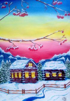 Снежный зимний пейзаж, гуашь