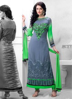 Epitome Grey And Green Georgette Churidar Suit  Item Code: 4796