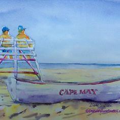 "#CapeMay Beach, watercolor, 8"" x 10,p"", $100.00"