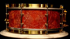 """Phattie Drums """"Sounds Like Art"""" Snare 14x6 Engraved Mahogany Stave Shell - Todd Sucherman Collection."""