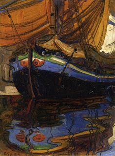 """Egon Schiele  """"Sailing Boat with Reflection in the Water (Bote con reflejo en el agua)"""". Óleo sobre cartón, 24,1 x 17,8 cm., 1908 Colección privada."""