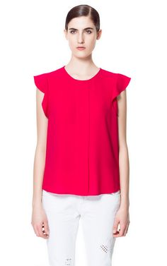 Zara top with frilled sleeve
