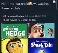 Hated Shark Tale and the Bee Movie. Over the Hedge was my favorite of this bunch here. Stupid Funny Memes, Funny Relatable Memes, Hilarious, Funny Shit, Funny Stuff, Right In The Childhood, My Childhood Memories, Shark Tale, Nostalgia