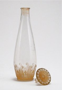 Флаконы.1920s J. Viard perfume bottle and stopper, clear/frost glass, sepia patina.