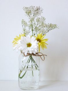 Items similar to Clear Mason Jar - blue flower vase - rustic wedding centerpiece - vintage terrarium - herb planter on Etsy