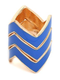 Get into the cool, cool mood of this chic trio of rings. With their zigzag silhouette and mesmerizing blue hue, they resemble leisurely waves—so go ahead, and set sail.  Sizing Note: These rings fit true to size if wearing one or two rings at a time.  If you intend to wear all three together as a set, please consider selecting one size larger than you normally wear.