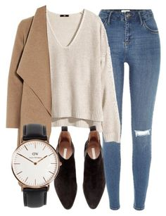 """Untitled #4885"" by laurenmboot ❤ liked on Polyvore featuring River Island, H&M, Harris Wharf London and Daniel Wellington"