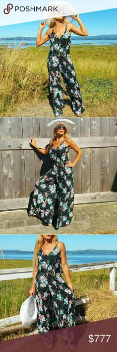 💋JUST IN💋BLACK FLORAL PRINT CROSS-BACK JUMPSUIT Brand new  Boutique item   Chic and classy black floral print chiffon jumpsuit is simply perfect. Wide legged sheer pants with partial lining, sexy plunging neckline and cross-backline. I am IN LOVE with this jumpsuit!! Pair with heels and floppy hat or on cooler days grab a denim jacket/blazer and stilettos. Lite weight 100%Polyester   Vacation cruise party tea party garden party picnic classy jumper romper office classy anniversary date…