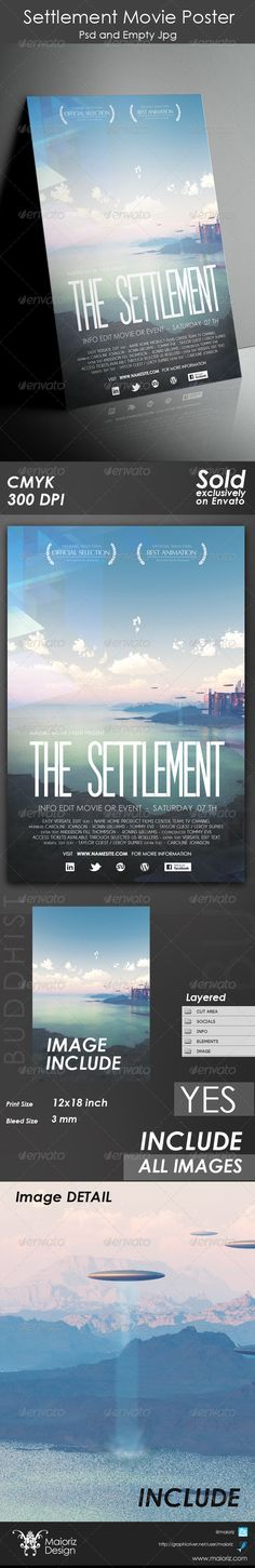 Design created for movie, shortCUT, event or other. INCLUDE IMAGEClean & Modern style Colour : CMYKFiles : .psd and empty JpgSize : 1218 inch  3 mm bleed. px / 300dpiFully layered and edit textBackground image LAND used Included.  Font used : SF Movie Posterht