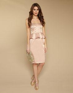 Monsoon strapless dress - very very light pink.