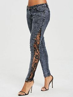The fashionably cool jeans has a sexy on both sides .- Die modisch coole Jeans hat auf beiden Seiten ein sexy durchsichtiges, floral ge… The trendy cool jeans have a sexy, sheer, floral patterned lace panel on both sides. Button fly and … - 80s Fashion, Denim Fashion, Fashion Outfits, Womens Fashion, Fashion Sewing, Trendy Fashion, Fashion Site, Camo Fashion, Jackets Fashion