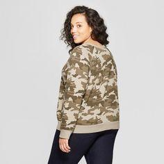2a4b3f70af7 Women s Plus Size Long Sleeve Crew Neck Camo Print Sweatshirt - Universal  Thread Green 3X