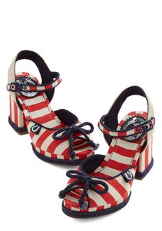 Here on Capitol Chill Heel in Fireworks by Miss L Fire - Mid, Woven, Blue, White, Stripes, Bows, Daytime Party, Beach/Resort, Spring, Summer, Best, Peep Toe, Chunky heel, Multi, Red, Nautical
