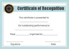 Certificate of Recognition Templates: Best Ideas and Free Samples - Demplates Certificate Of Recognition Template, Certificate Templates, Certificate Of Appreciation, Free Samples, Are You The One, Good Things, Ideas, Thoughts