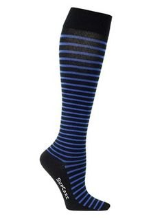 Compression stockings with thin blue stripes