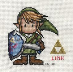 Link Cross Stitch - Legend of Zelda - Pattern here: http://www.box.com/shared/b6s7l5yao6qst5yv7xlo