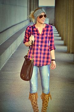 Absolutely love this--- Definitely a look iI'm gonna try this weekend :) PLAID SHIRT AND JEANS WITH FRINGE BOOTS