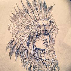 Going through some old drawings and out of all the headdress girls I've done - which is two or three ha - I think this is still my fav. #sketch #drawing #headdress #girl #tattoo #tattoodesign #pencil #gimiksborn #gborn #warrior #gimiks