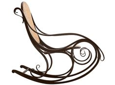 Art Nouveau Rocking Chair - exaggerated curved lines are popular during this period. Common materials used during the Art Nouveau period are: woods, glass, silver and semi precious stones.