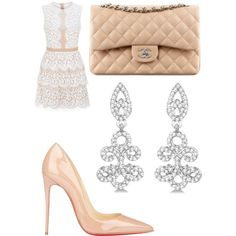 Girly glam by nataliemthompson on Polyvore featuring polyvore, fashion, style, BCBGMAXAZRIA, Christian Louboutin, Allurez and Chanel