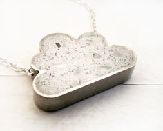 White cloud concrete necklace with glass