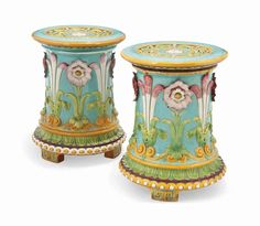 Minton Majolica Garden Seats Garden Seating, Porcelain, Pottery, Ceramics, Antiques, Tableware, Collection, Color, Ceramica