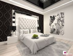 "Glam Bedroom Ideas Unique Sypialnia Styl Glamour Zdj""â""¢cie Od Cube Blue Room Decor, Grey Bedroom Decor, Bedroom Decor For Couples, Apartment Bedroom Decor, Bedroom Red, Master Bedroom Design, Bedroom Decor Pictures, Bedroom Images, Bedroom Ideas"