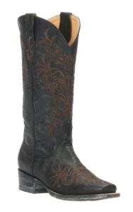 Cavender's by Old Gringo Women's Vintage Black Goat with Brown Vine Embroidery Square Toe Western Boots | Cavender's