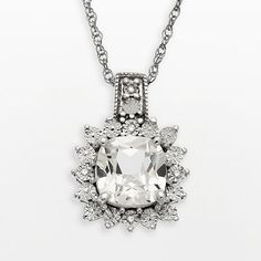 Sterling Silver Lab-Created White Sapphire and Diamond Accent Cushion Pendant