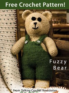 Fuzzy Bear Download from Talking Crochet newsletter. Click on the photo to access the free pattern. Sign up for this free newsletter here: AnniesNewsletters.com.