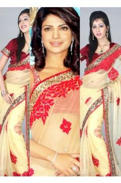 Priyanka Chopra Saree in Cream  Super Low cost