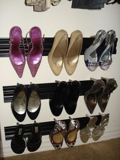 Idea from Pinterest. DIY crown molding shoe rack; complete!