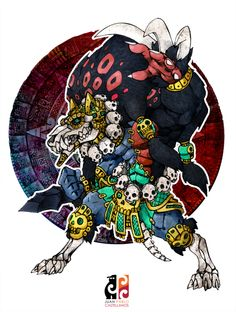 Xolotl- Aztec myth: a dog headed skeletal god of fire, lightning, deformities, and sickness. He guarded the sun in the underworld during the night. He was the dark interpretation of venus. He guided the dead to the after life.