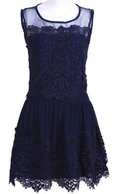 Navy Sleeveless Embroidery Pleated Lace #Dress